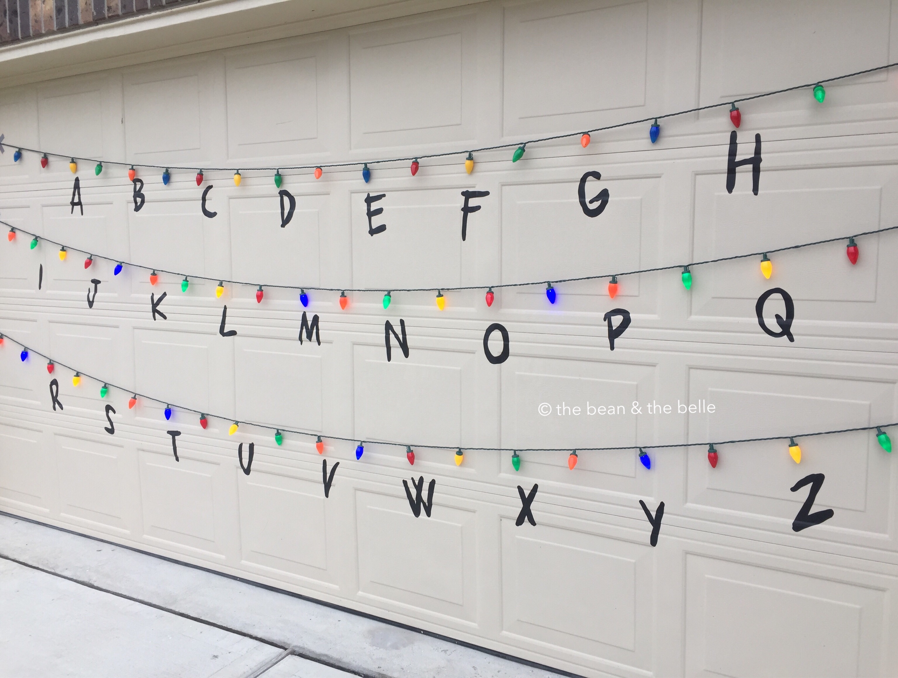 it took about an hour to find the right font and cut out all the letters but it was super worth it - Stranger Things Christmas Decorations