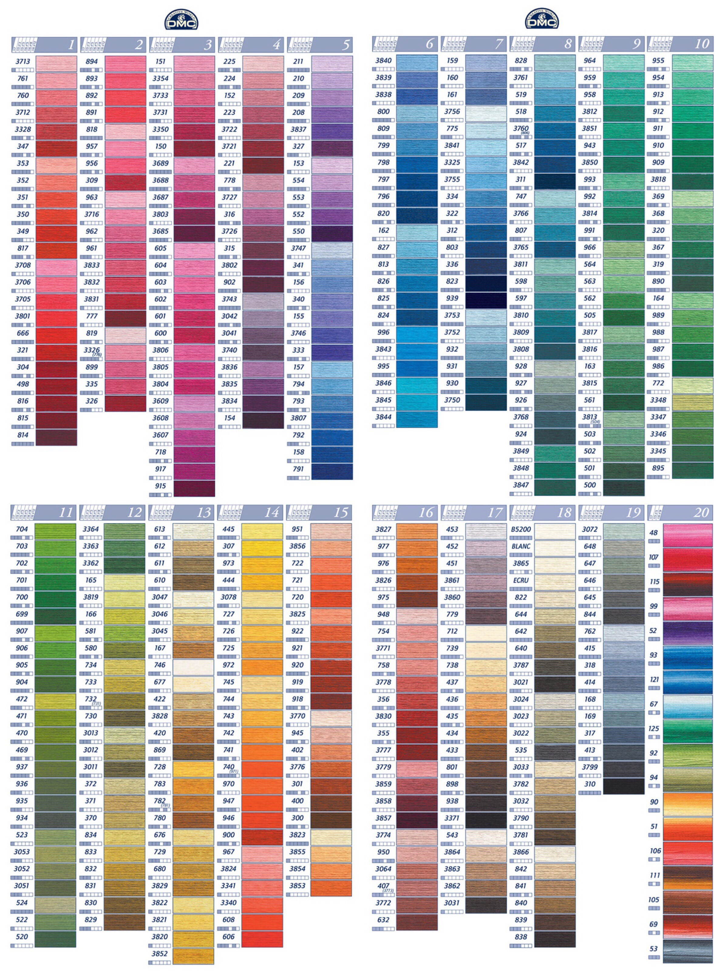Dmc Color Chart Ibovnathandedecker